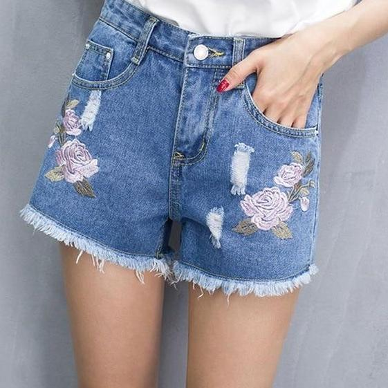 Denim Shorts Ripped Floral Embroidery