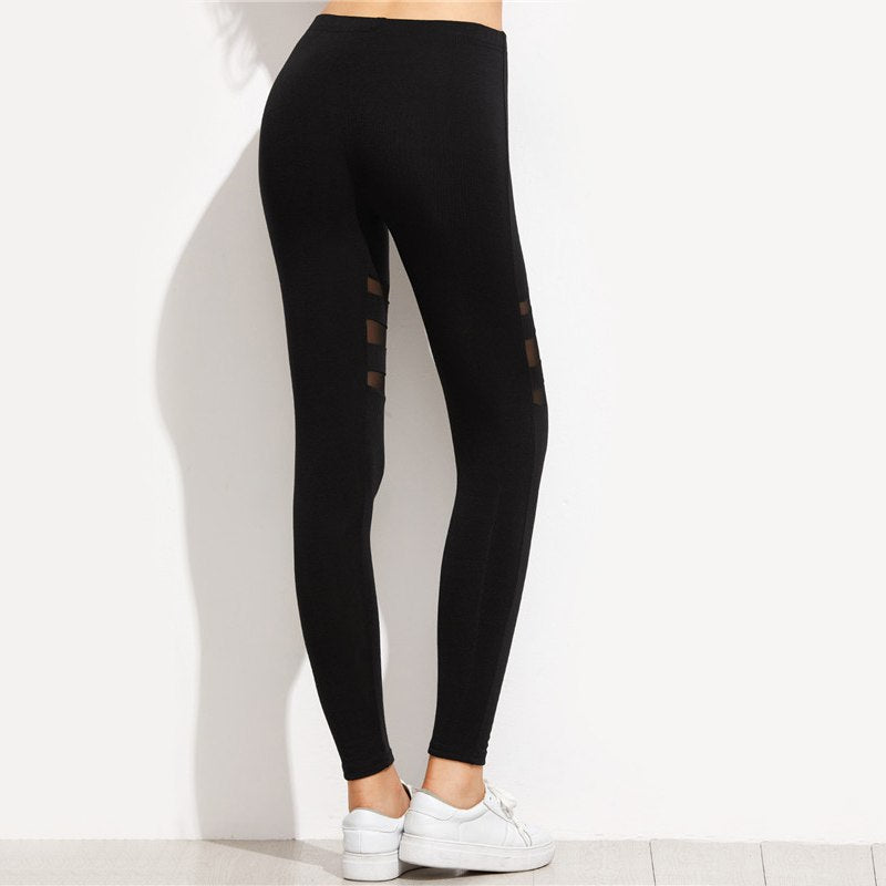 Mesh Insert Casual Fitness Leggings