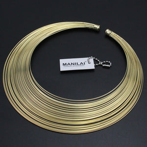 Multilayer Metal Wire Neck Fit Torques Necklaces