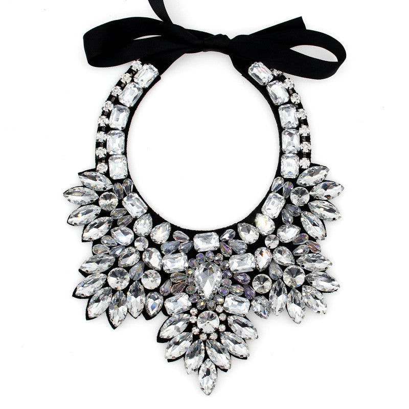 Handmade Big Gem Bead Flower Collar Choker