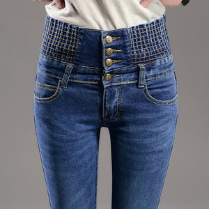 Korean high waisted jeans female
