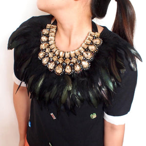 Exaggerate Black Feather Crystal Collar Necklaces