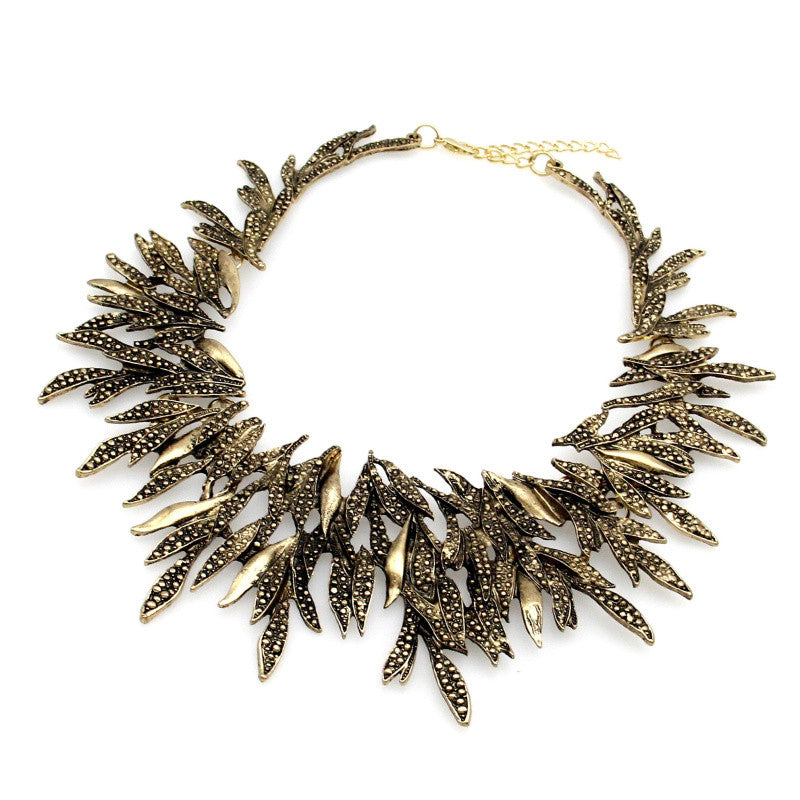 Retro Leaf Geometric Choker Necklaces