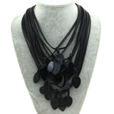 Multilayer Leather Shell Charm Necklace For Women