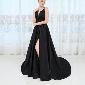 Sexy Deep V-neck Long Evening Dress