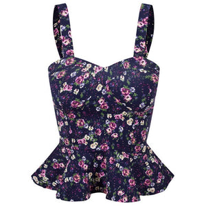 Floral Bustier Crop Top Summer Women