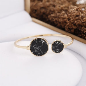 Faux Marble Stone Round Geometric Bangle