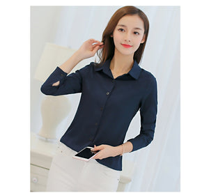 White Blouse Chiffon Office Career Shirts