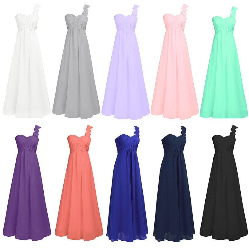 Women One Shoulder Floor Length Gowns Beading Dresses