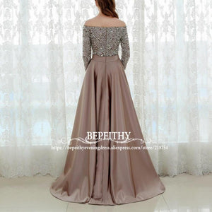Sexy Off The Shoulder Evening Dress Three Quarter Sleeves