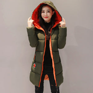 Womens Medium-Long Cotton Padded Warm Jacket