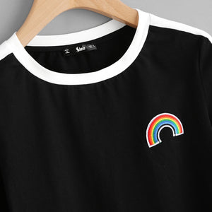 Rainbow Patch Cute T-shirt Contrast