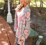 Long Sleeve Poncho Sweaters Print