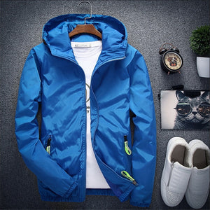 Zipper Thin Hooded Coat Men Jacket
