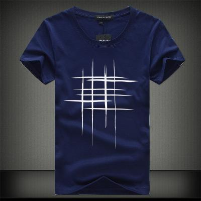 line cross Print cotton Men t-shirt