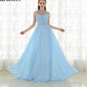 Chiffon Sexy Sheer Neckline Vintage Long Prom Dress