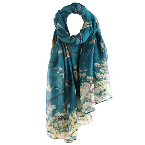 Cotton Floral Bird Printed Elegant Scarf Women