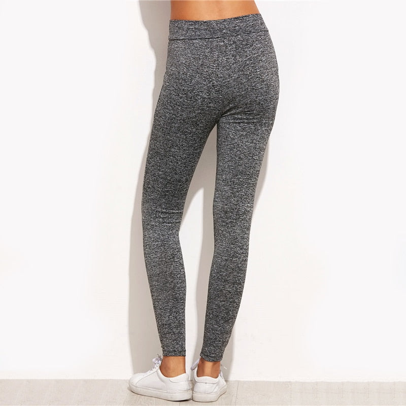 Marled Knit Mesh Insert Ripped Leggings - Narvay.com