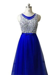 Evening dresses prom party crystal pearls floor length