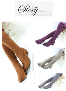 Knee Boots Winter Round Toe Warm