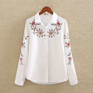 Embroidery White Cotton Shirt