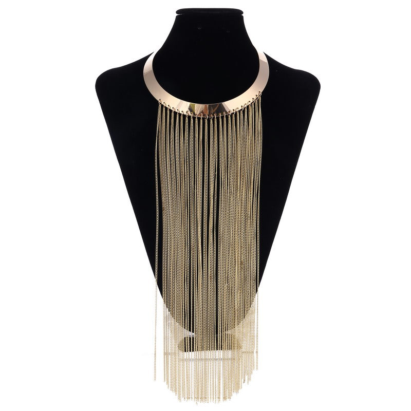 Necklace Women Gold Silver Chain Tassel Long
