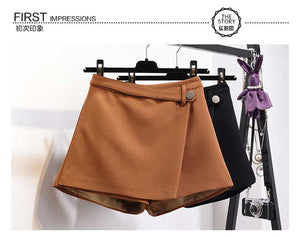 High Waist Casual Irregular Wide Leg Short