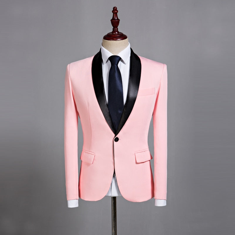 Pink Casual Blazer Wedding Grooms