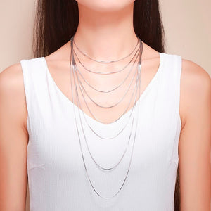 Silver Necklaces Slim Thin Snake Chains
