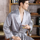 Spring Autumn Luxury Bathrobe Mens Print