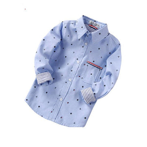 Spring Autumn Polka Dot Boys Shirts Cotton