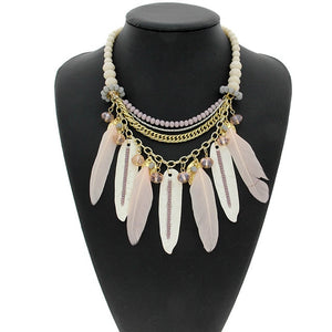 Crystal Bead Alloy Leaves Feather Choker