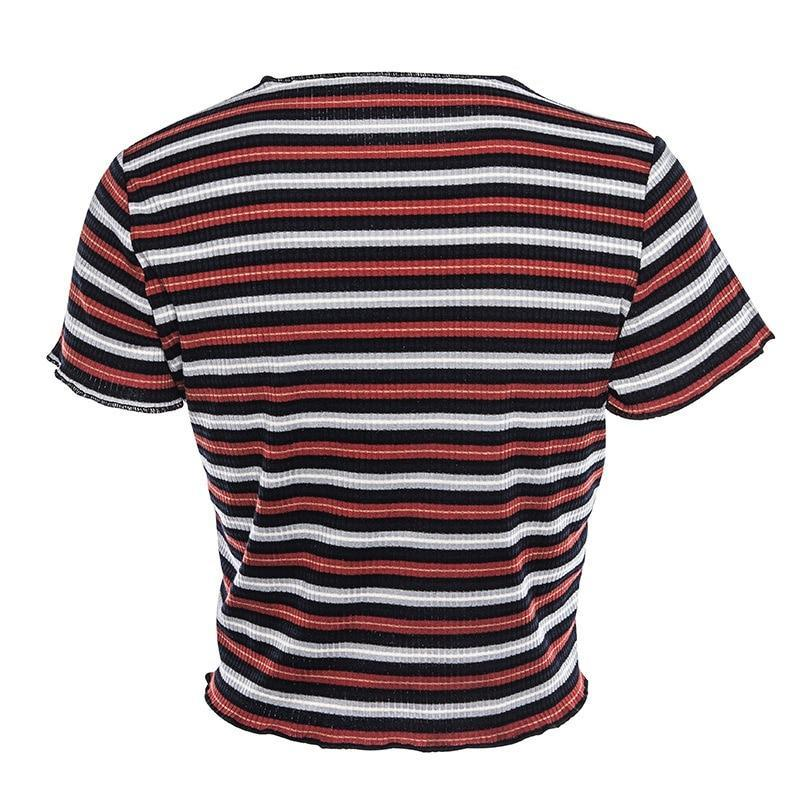 Multi Stripe Blocked Stretch T-shirt Women