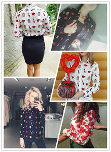 Women's Long Sleeve Blouse Shirts Lipstick