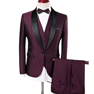 Shawl Collar 3 Pieces Slim Fit Burgundy Suit - Narvay.com