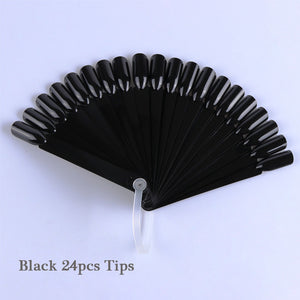 Nail Tips Nature Clear Black Fan Finger