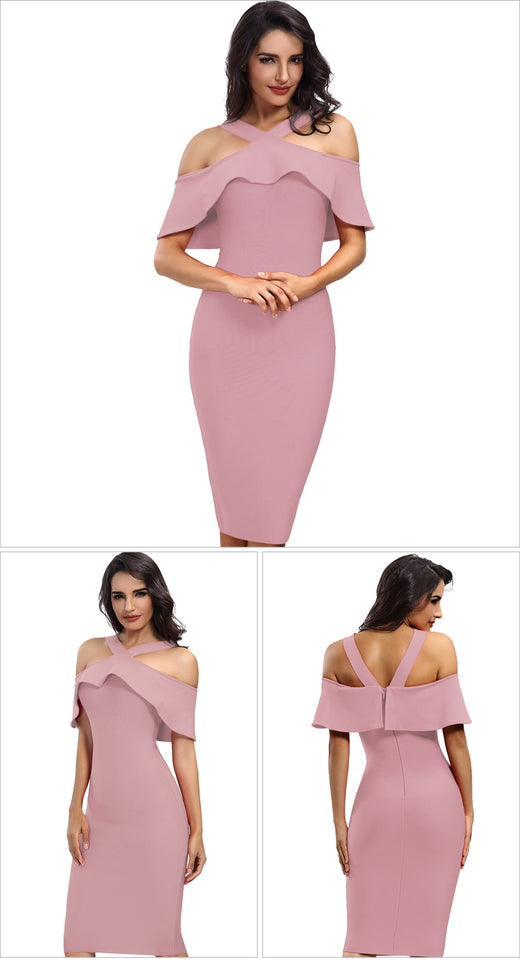 Ruffles Dress Patchwork Off Shoulder Dress