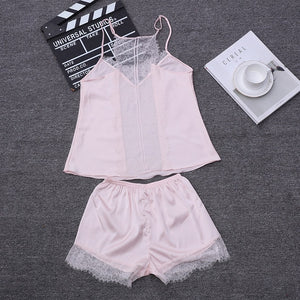 Two Piece Sets Women Sleepwear Silk Pajamas