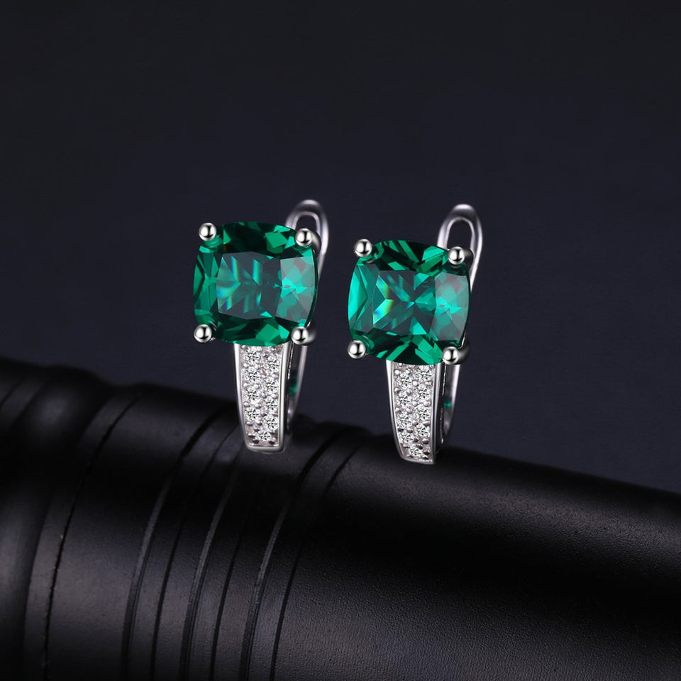 Created Green Emerald Clip On Earrings