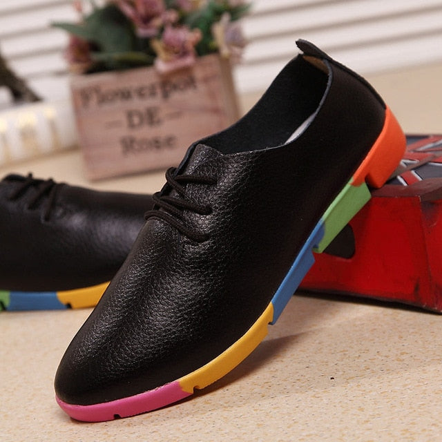 breathable Leather flats shoes woman