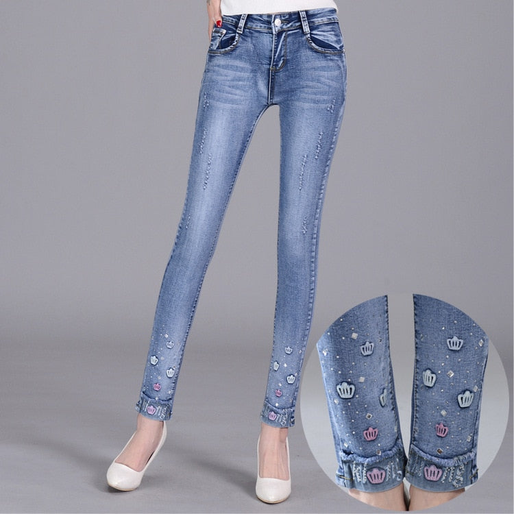 Korean casual ripped jeans female - Narvay.com