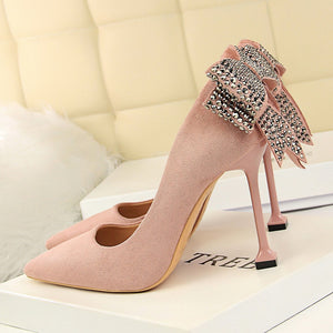 High Heels Crystal Pumps Pointed Toe Rhinestone