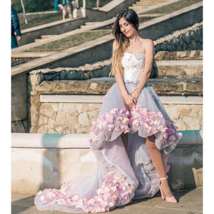 Flowers Prom Short Front Long Back Dresses