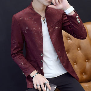 Mens Floral Blazer Chinese Collar Suit Jacket