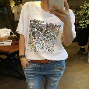 Sequins Bamboo Cotton White T-Shirt