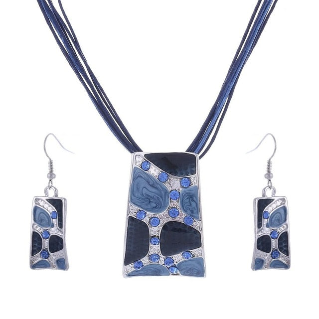 Chain Enamel Gem Jewelry Sets