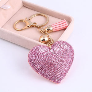 Heart Keychain Leather Tassel Gold