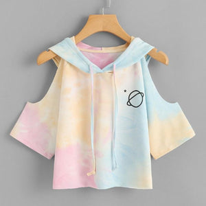 Open Shoulder Water Color Hooded Tee