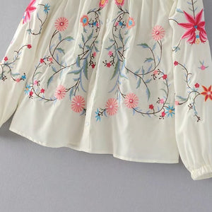 Off Shoulder Floral Embroidery Blouse Women Ivory