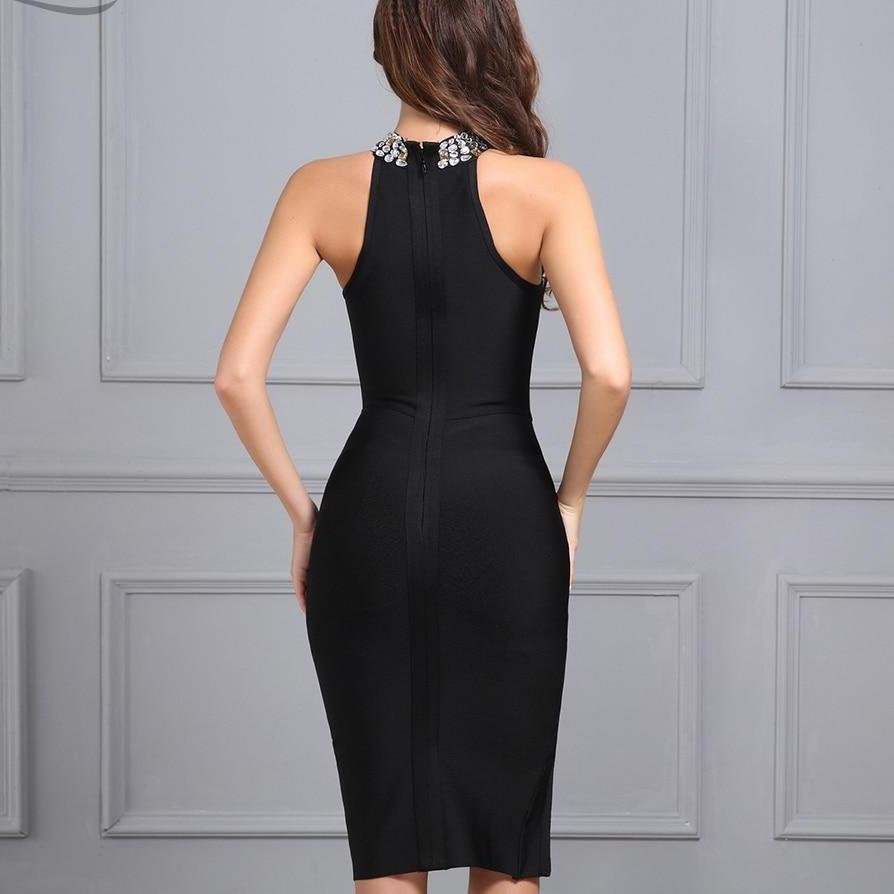 Split Halter neck Diamonds Dress